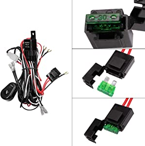 YUNPICAR YUNPICAR LED Light Bar Wiring Harness Kit with 12V 40A Fuse Relay ON/Off Switch for LED Off-Road Driving Light Fog Light Work Light (2 Lead) (Relay harness kit)