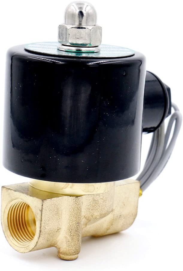 Baomain 3/8 inch Brass Electric Solenoid Valve Water Air Fuels N/C Valve DC 12V