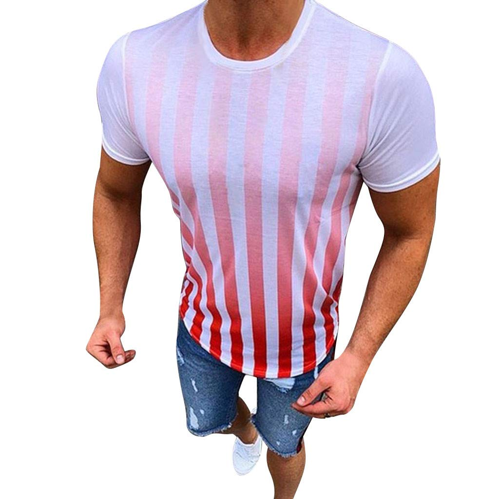 Men's Striped Short Sleeve Top, Casual New Stripe Printed Cotton T-Shirts Summer Fashion and Comfortable Blouse Top (Red, S)