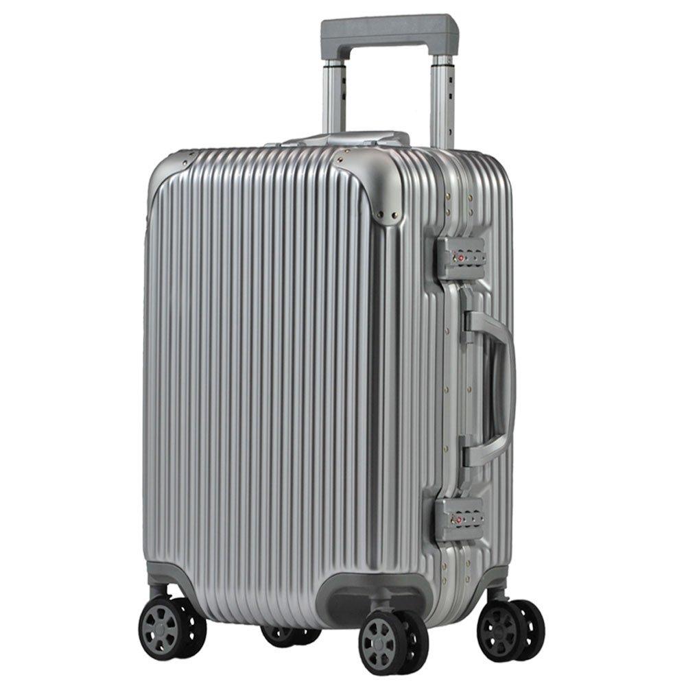 スーツケース アルミフレーム 機内持込~大型 軽量 超消音 ダブルキャスター 8輪 TSA キャリーケース キャリーバッグ B074ZYP79P M(3~5泊)-50L|シルバー シルバー M(3~5泊)-50L