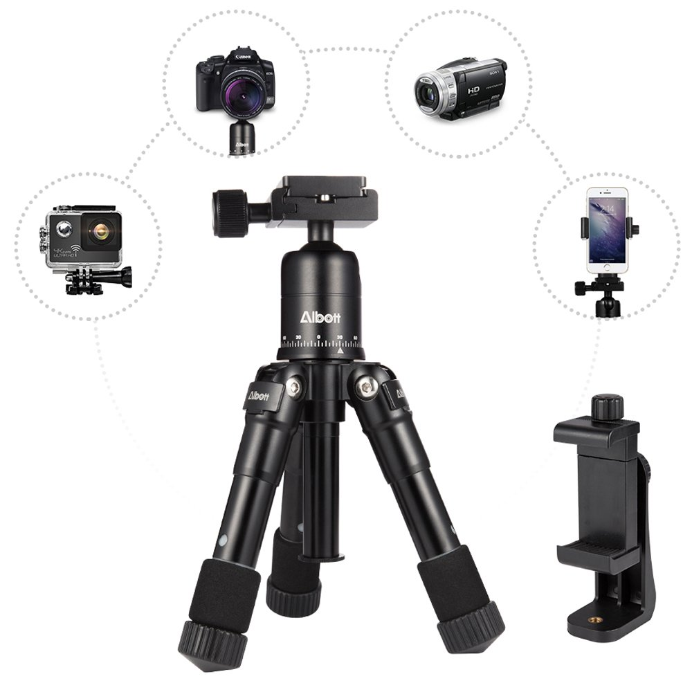 Camera Tripod -Albott 20 inches Desktop Tabletop Mini Camera Tripod with Quick Release Plate and Adjustable Phone Stand for Canon Nikon DSLR Camera iPhone Samsung Phone by Albott