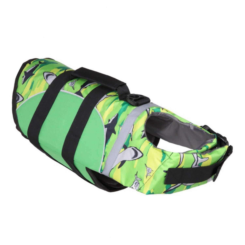 Dog Life Vest Safety Clothes for Pet Vest Summer Saver Swimming Preserver Swimwear Large Dog Life Jacket,Green,L