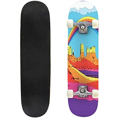 Classic Concave Skateboard Great American Desert Psychedelic Art 1960s 1970s Style Mountains Longboard Maple Deck Extreme Sports and Outdoors Double Kick Trick for Beginners and Professionals : Sports & Outdoors