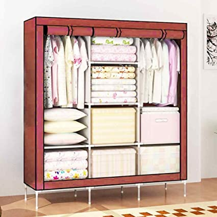 House of quirk fabric portable wardrobe organizer brown