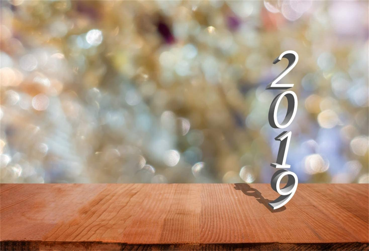 New Year 2019 Backdrop Vinyl 10x7ft Dreamlike Abstract Bokeh Haloes Wood Texture Floor Background Child Kids Adult Shoot New Year Celebration Party Banner Studio Props