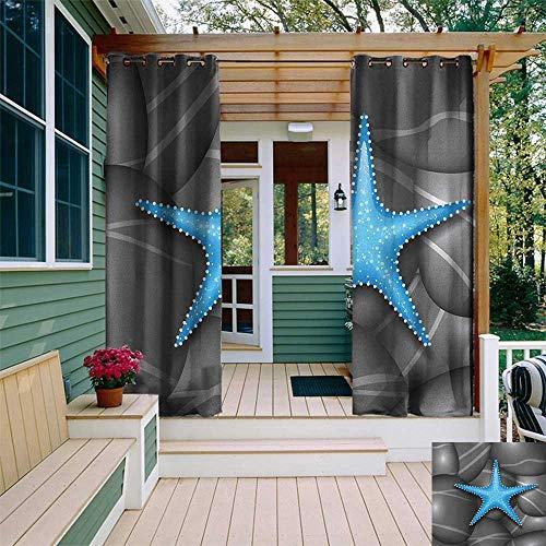 leinuoyi Starfish, Outdoor Curtain Panels Set of 2, Blue Starfish Among The Sea Pebble Stones Ocean Underwater Wildlife Print, for Gazebo W96 x L96 Inch Grey Blue White ()