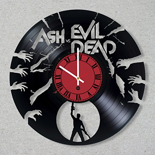 Ash vs Evil Dead Vinyl Record Wall Clock Ash vs Evil Dead Zombie Movie Bruce Campbell Horror Halloween Decor Unique Gift Ideas for Friends him her Boys Girls World Art Design -