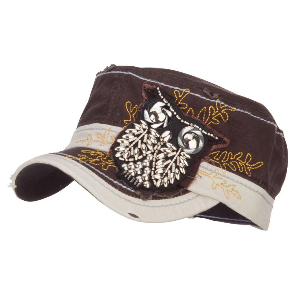 b9ba241d5756d SS Hat Owl Fancy Frayed Military Cap - Brown OSFM at Amazon Women s  Clothing store