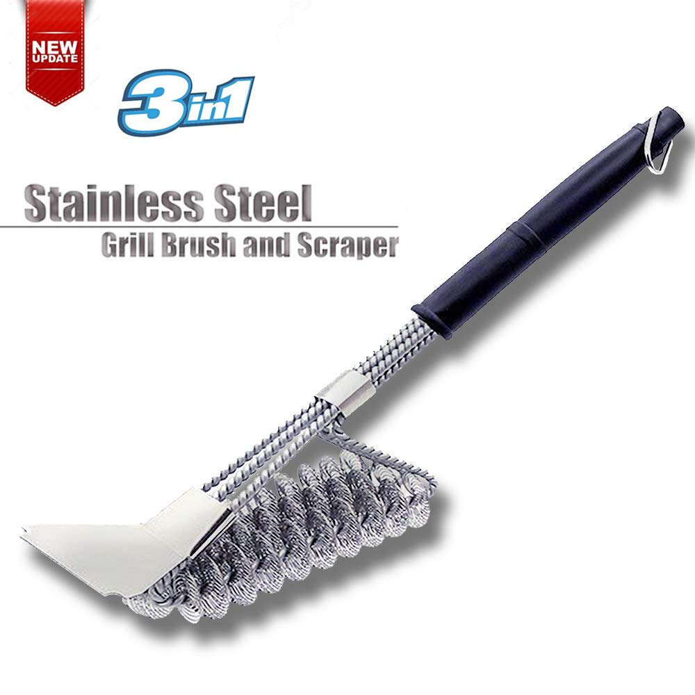 EOYIZW Grill Brush, Scraper & Best BBQ Brush - Safe 100% Rust Resistant 18'' Stainless Steel 3 in 1 Bristles Grill Cleaning Brush for Durable Long Handle, Great Grill Accessories Gift for Grillin by EOYIZW