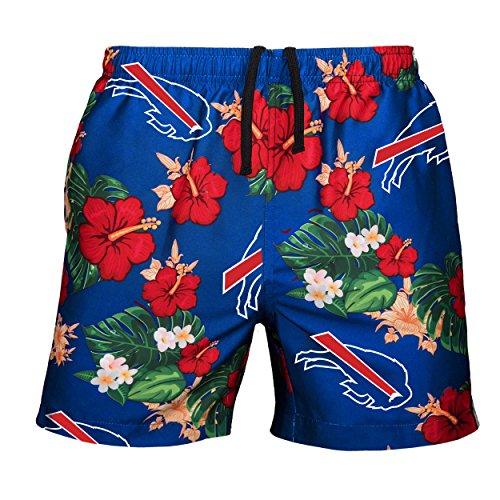 NFL Buffalo Bills Mens Team Logo Floral Hawaiin Swim Suit Trunksteam Logo Floral Hawaiin Swim Suit Trunks, Team Color, X-Large (34