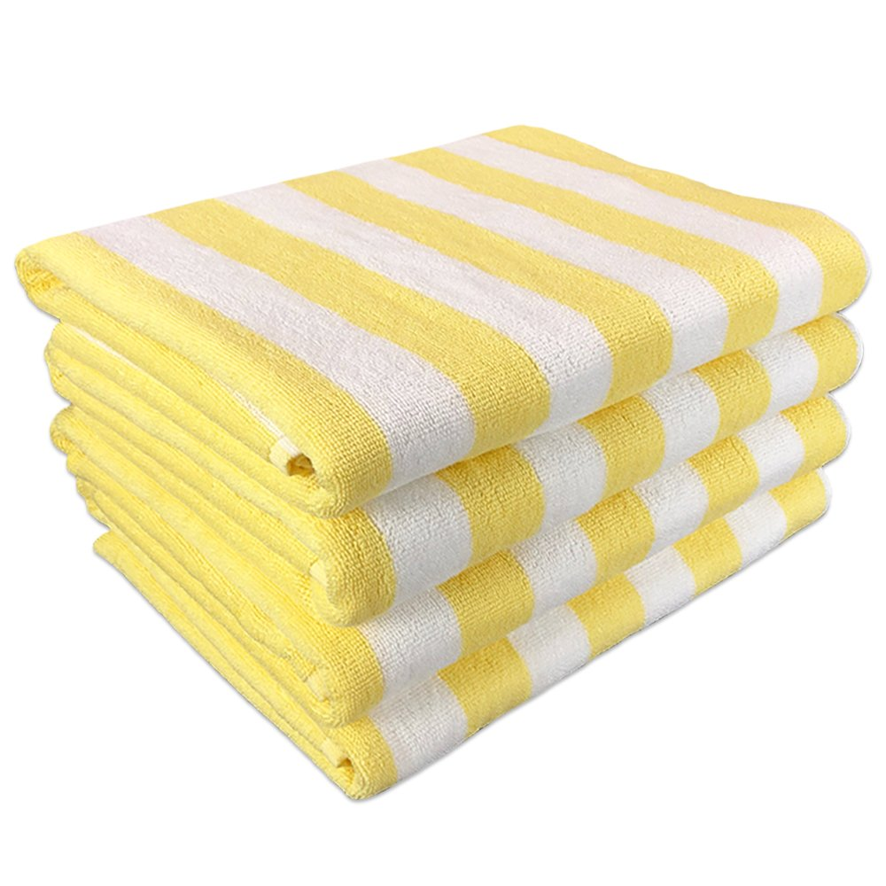 California Cabana Striped Oversized Beach Towel   Set of Four Extra Large 30'' x 70''   100% Ringspun Cotton Double Yarn Strength   Perfect Pool Towel, Beach Towel, Bath Towel- by Arkwright (Yellow)