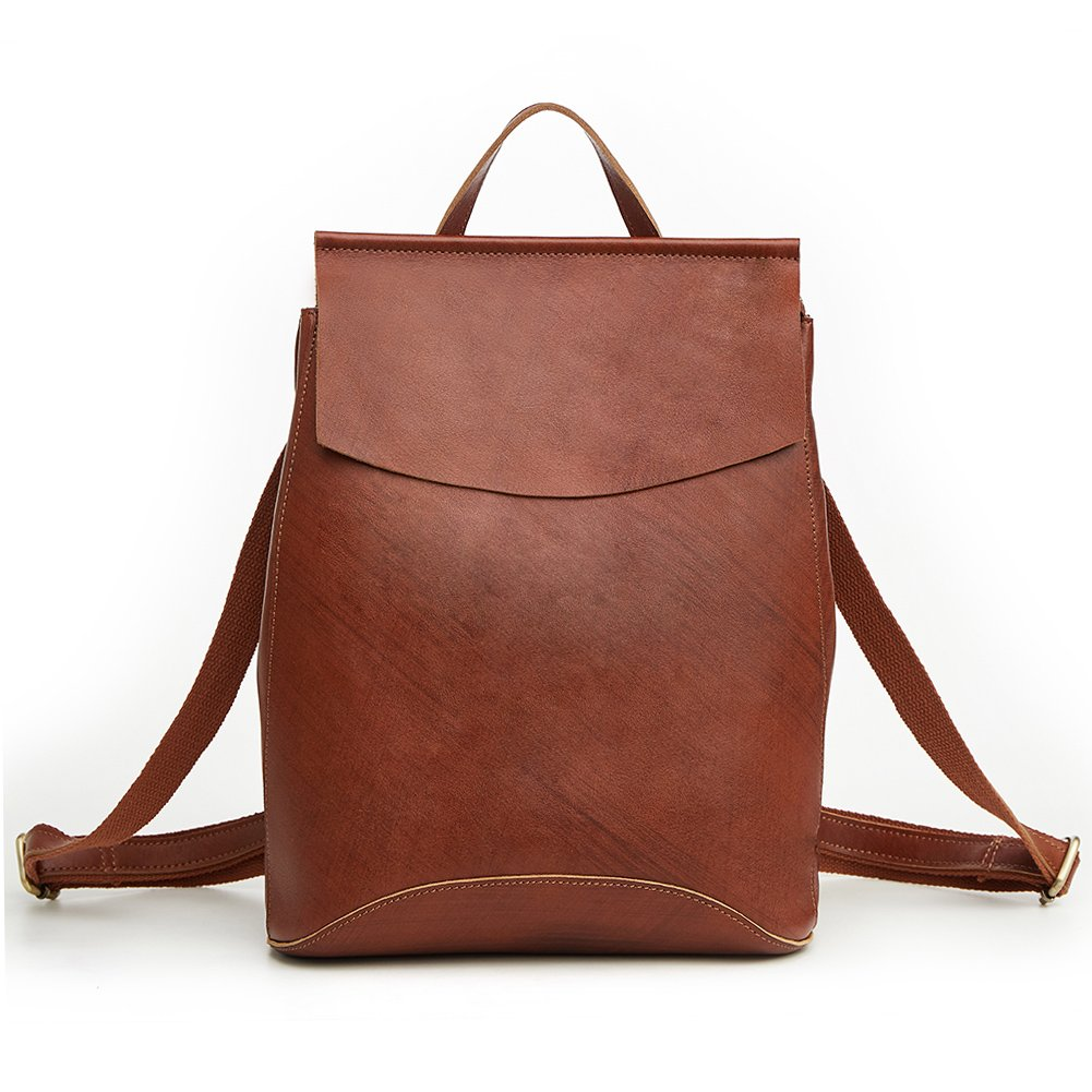 Women's Genuine Leather Backpack Casual Daypack (Dark Brown)