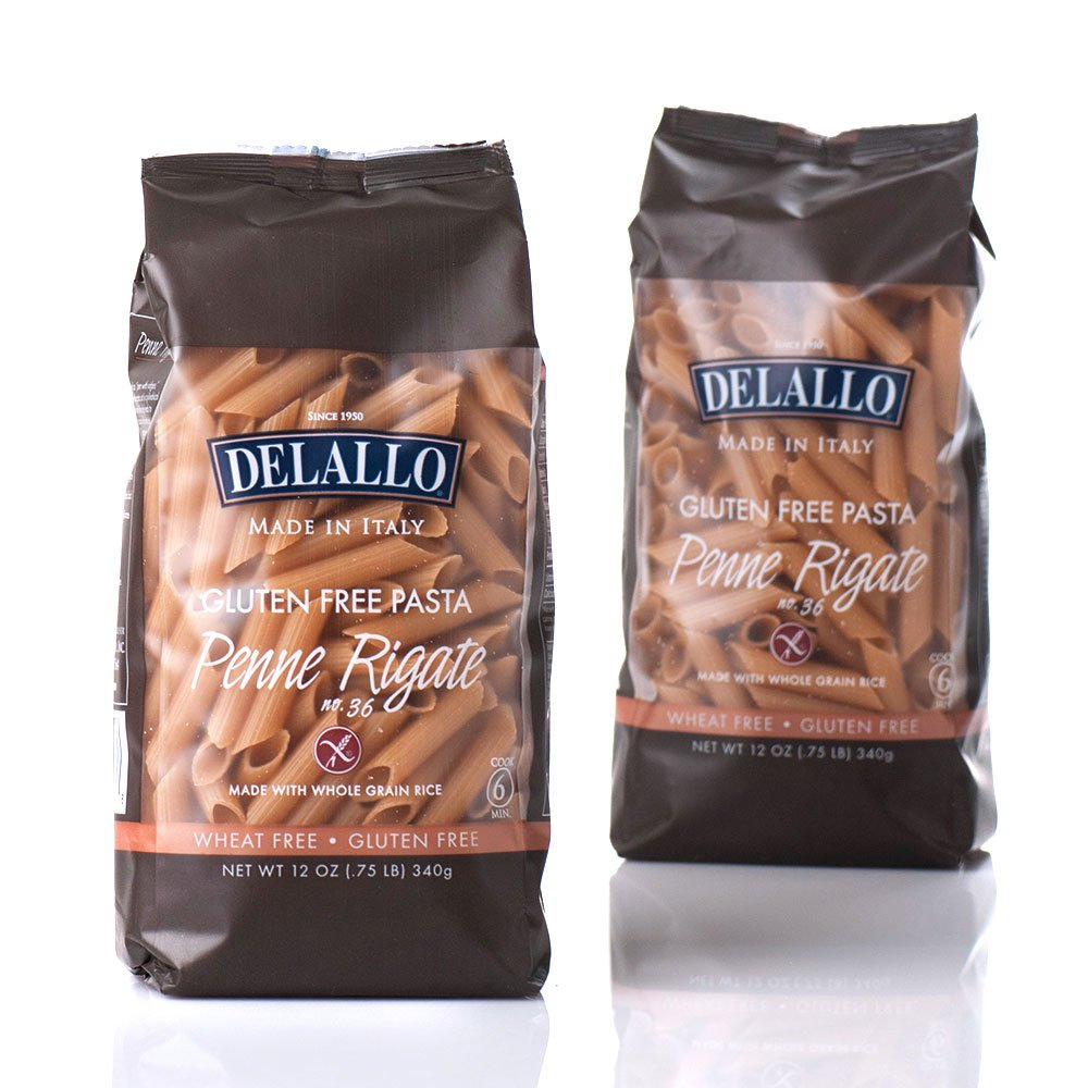 DeLallo Gluten Free Brown Rice, Penne Regate, 12-Ounce (Pack of 12) by DeLallo