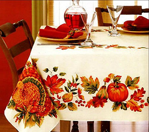 Harvest Tablecloth - Artisan Flair AF17003S Harvest Gathering Printed Fabric Tablecloth 60