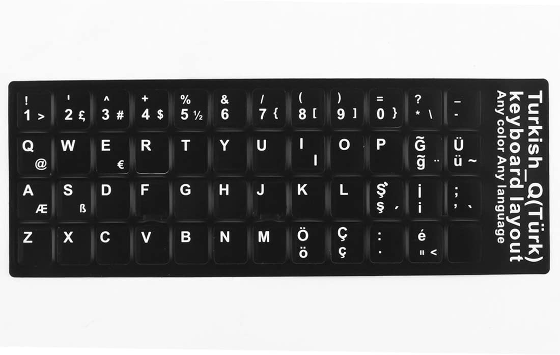 uxcell Desktop Laptop Computer Turkish Language Keyboard Decal Protector Large Letters Sticker