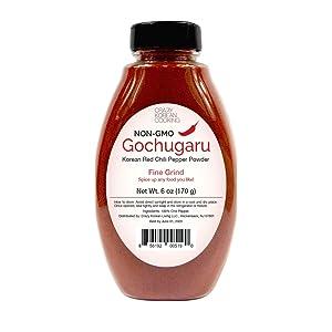 Non-GMO Gochugaru, Kosher, Gluten Free, No additives, Korean Red Pepper Powder, Fine Grind 6 OZ