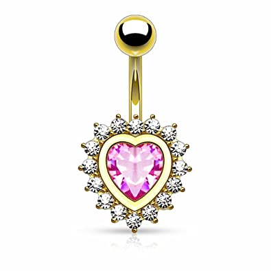 c1b4d034ffd6a7 Amazon.com: Belly Button Ring Navel Heart Shape Paved CZ Around Large Heart  CZ Plated: Jewelry