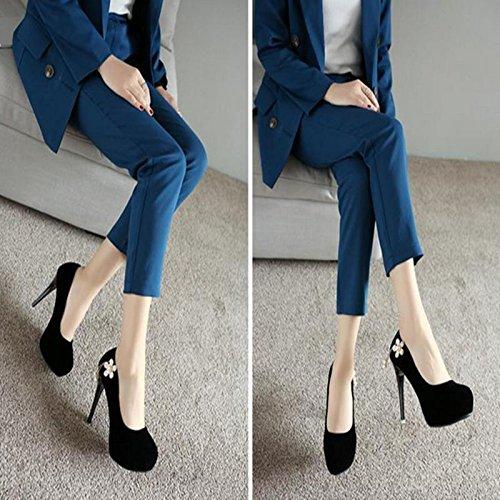 MZG weiblich High Heels Frühjahr und Sommer Herbst Winter rund Kaschmir Face wasserdicht Tisch Pure Color und Single Schuhe schwarz