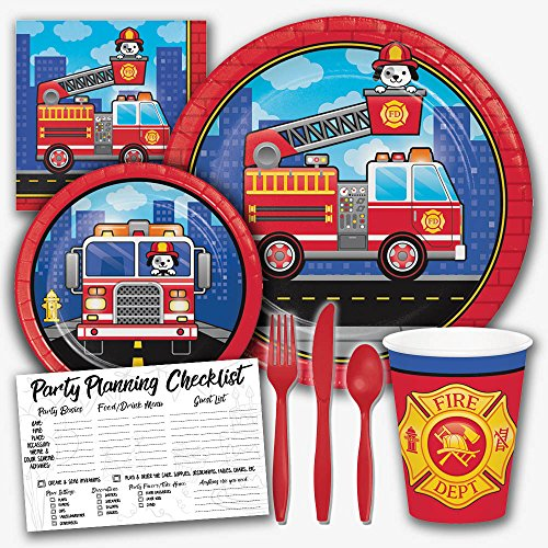 Flaming Fire Truck Firefighter Theme Birthday Party Supply Set - Serves 8 Guests