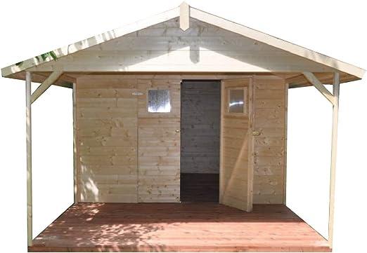 Cadema - Cobertizo de madera para jardín con terraza (9 m2 + 6 m2 ...