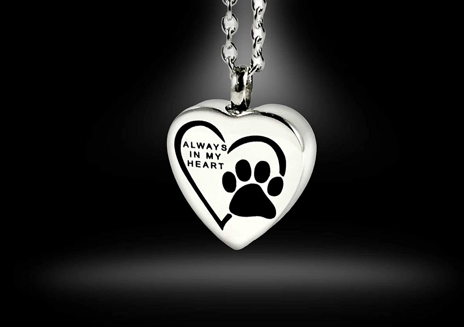 FIKA Always in My Heart Pet Dog Cat Cremation Ashes Remembrance Urn Pendant Necklace Jewelry Filling Kit Included