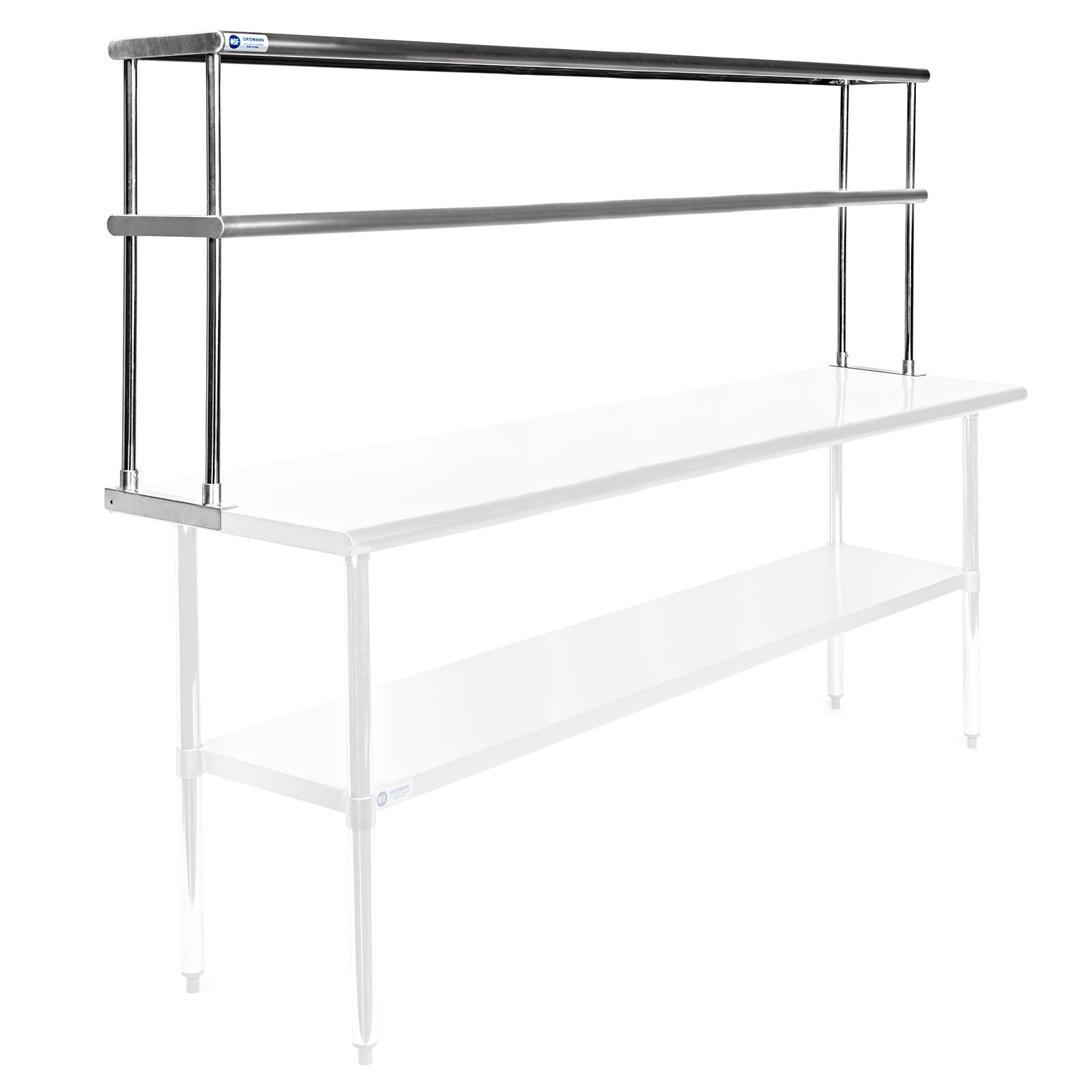 Gridmann NSF Stainless Steel Commercial Kitchen Prep & Work Table 2 Tier Double Overshelf - 72 in. x 12 in.