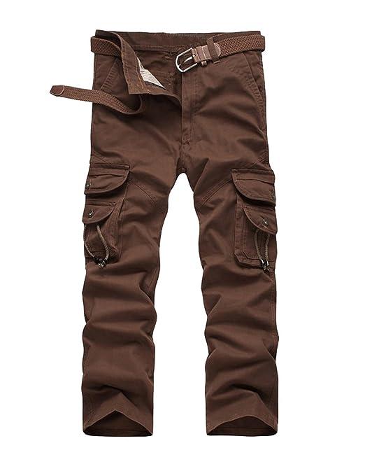 Hombre Color Sólido Tallas Grandes Pantalon Cargo Pantalones con Bolsillos: Amazon.es: Ropa y accesorios