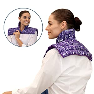 Heat Therapy Pack – Neck and Shoulder Heating Pillow for Neck Pain, Stiff and Sore Muscles, Migraines, Upper Back Pain - Herbal Aromatherapy Heating Pad (Purple Plus)