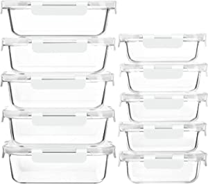 [10-Pack]Glass Meal Prep Containers with Lids-MCIRCO Glass Food Storage Containers with Lifetime Lasting Snap Locking Lids, Airtight Lunch Containers, Microwave, Oven, Freezer and Dishwasher, White