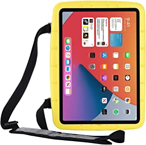 i-original Kids Case for iPad 10.2 7th Gen 2019/8th Gen 2020,EVA Convenient Bracket case with Strap,Lightweight Shockproof Protective Cover for iPad Air (3rd Gen) 10.5 2019,iPad Pro 10.5 2017(Yellow)
