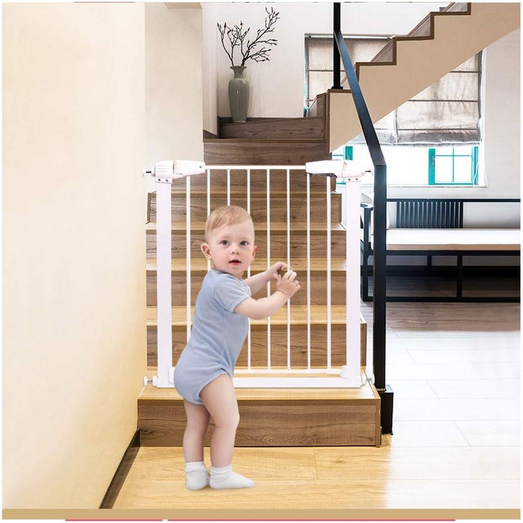 Baby Gate Baby Stairway Fence Bar Barrera de Seguridad para niños Barrera para Perros Pet Pole Fence Door Puerta de Cierre automático Perforación Gratuita (Color: Blanco, Tamaño: 168-173cm)