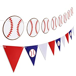 2PCS Baseball Party Paper Banner - Sports/Baseball Themed First Birthday Baby Shower Party Decorations Supplies Favors Wall Home Decor Photo Prop Paper Triangle Bunting Flag Banner Garland