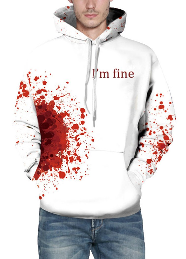 Prettyard Men Women Bloody I'm fine Saying Casual Hipster White Sweatshirt Hoodie - US(Men:M = Women:12-14/L) Ignore Our tag