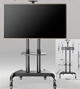 KSW_KKW El 32-70 Pulgadas LCD LED TV de Pantalla Plana, con estantes de Altura Ajustable Ruedas de TV de la Carretilla, Bandeja de Ajuste del ángulo de Tono Arriba y Abajo de