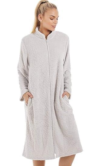Robe de Chambre Femme Polaire Douce Fermeture Éclair à l\'avant -Gris ...