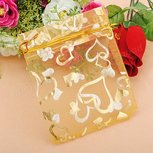 Festival Gifts & Party Supplies Gift Packaging Supplies - 100pcs Golden Luxury Heart Organza Jewelry Favor Gift Bag by Unknown (Image #2)