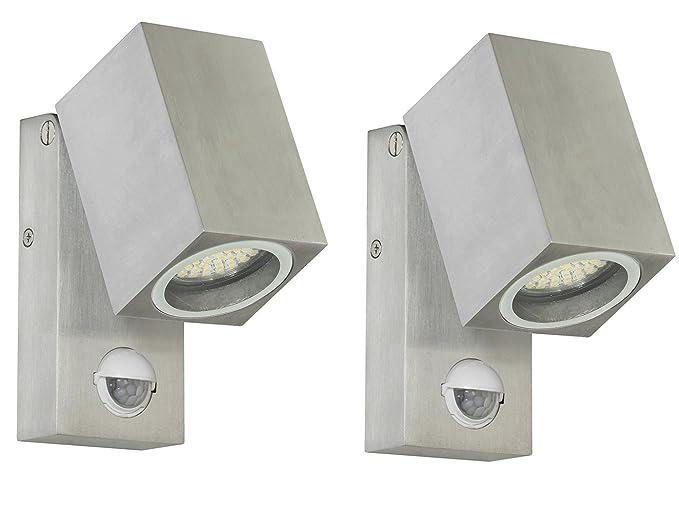 Juego de 2 Schwenkbare LED luces exteriores Lorna, sensor de movimiento y de oscuridad,