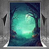 L2G 5ftX6.5ft (150cmX200cm)Halloween Children Photography Background Photo Backdrops Outdoor The Ghost Trees With Pumpkins Props for Studio