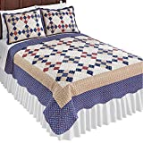 Collections Etc Country Patchwork Quilt with Diamond Pattern, Red And Blue, Twin