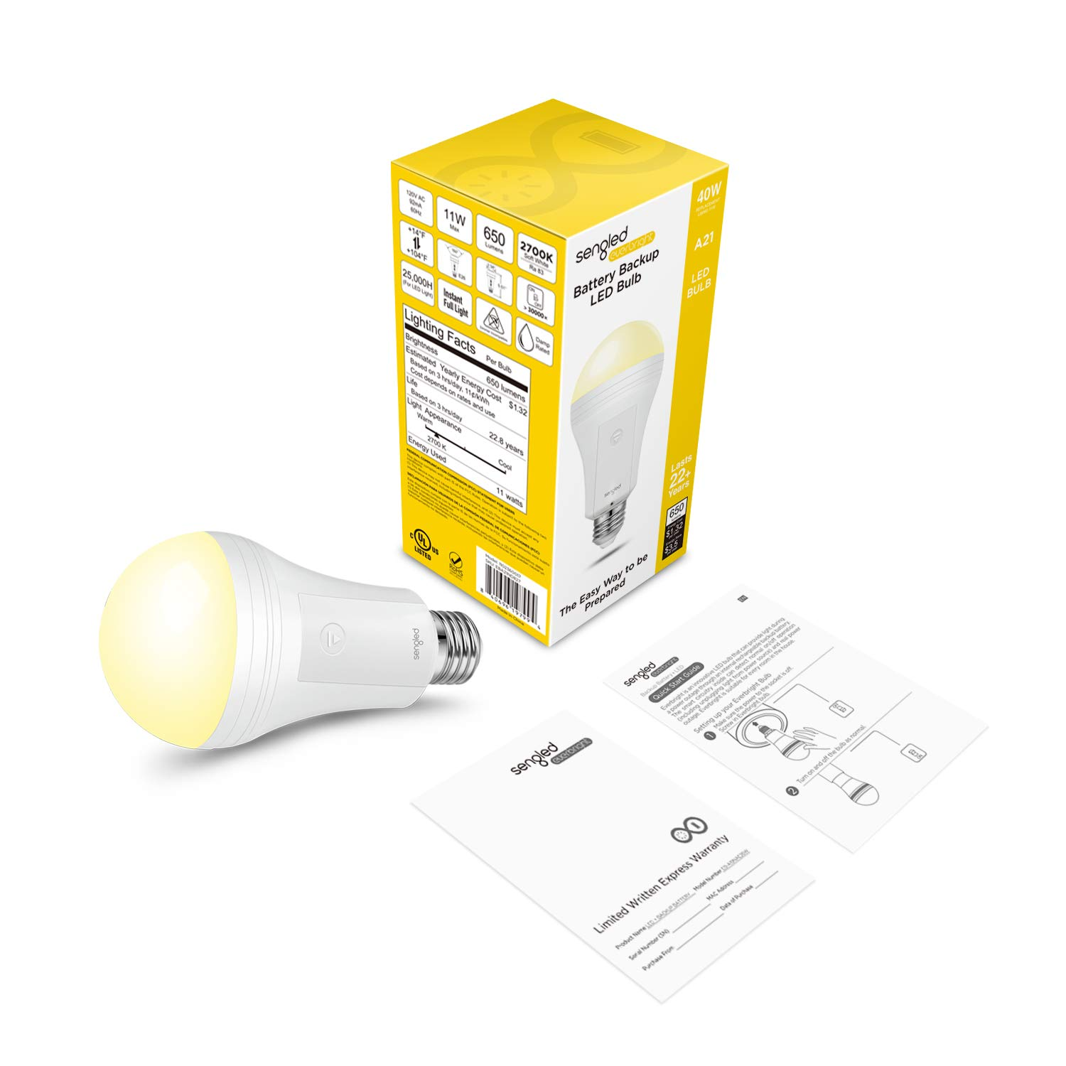 Sengled LED Emergency Light Bulb with Built-in Rechargeable Battery 60W Equivalent 4 Pack E26 Base Up to 12 Hours of Light in Power Outage as a Rechargeable LED Flashlight
