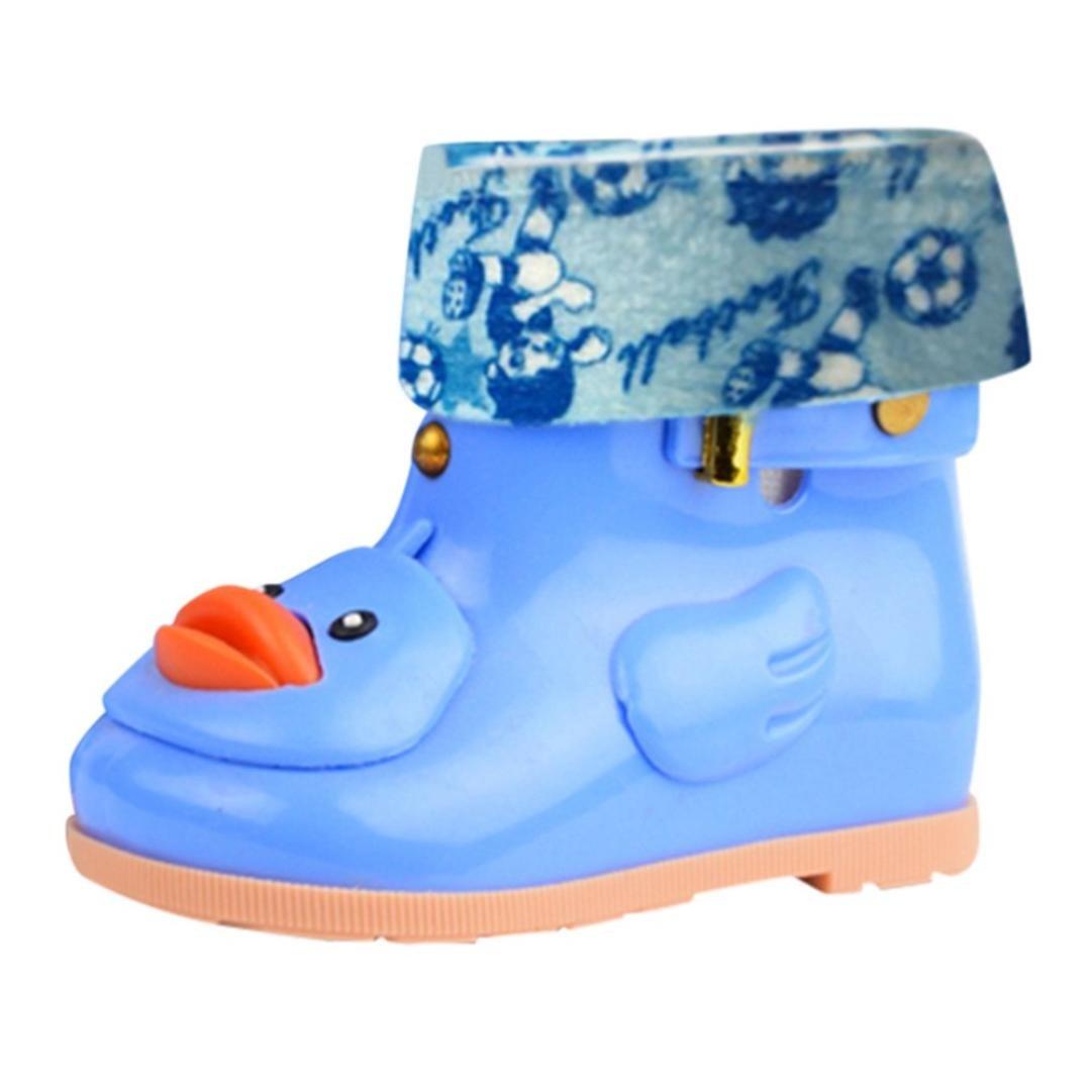 UMFun Infant Kids Rain Shoes Children Baby Cartoon Duck Rubber Waterproof Warm Boots Rain Shoes (Blue, US:6.5)