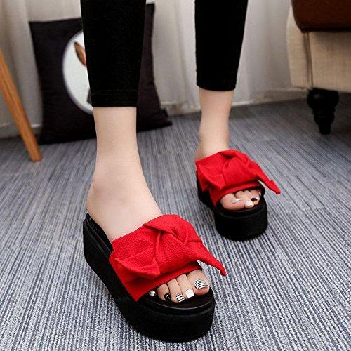 épais d'été femmes étanche sandales Talon haut décontractées plateforme Pantoufles talon red LvYuan confortables plage Chaussures compensé de Fond chaussures pour Bowknot gqtv0w5