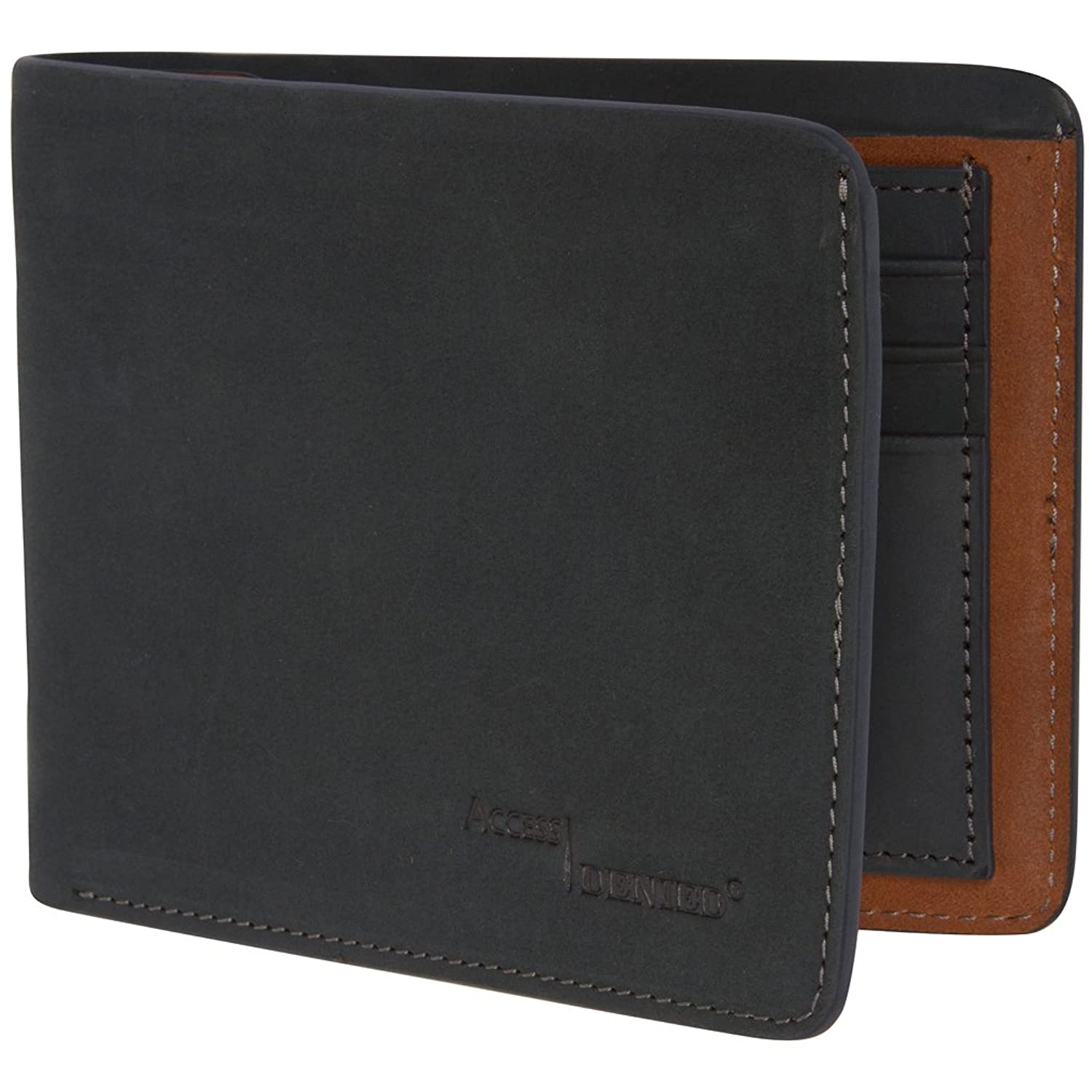 Access Denied Mens RFID Blocking Soft Leather Wallet Slim Two Tone Nubuck