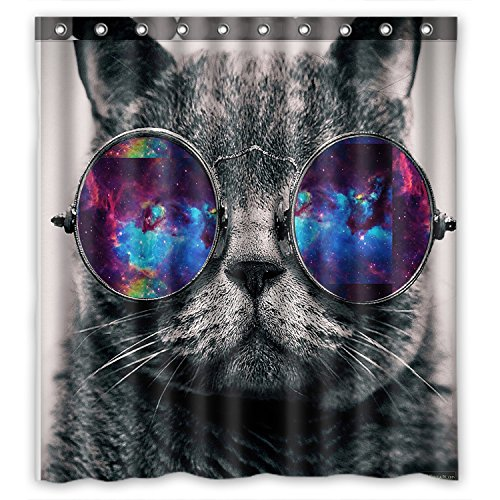 (FMSHPON Galaxy Hipster Cat Wear Color Sunglasses Waterproof Fabric Shower Curtain 66 x 72 Inches)