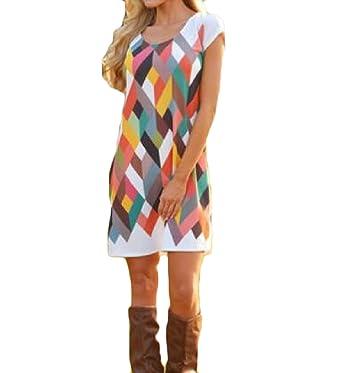 0153ba51eda5 Mfasica Women s Midi Dress Printing Pattern Stitching Crewneck Short Sleeve  at Amazon Women s Clothing store