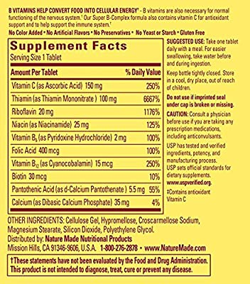 Nature Made Super B Complex + Vitamin C Tablets, 250 Count, Package may vary