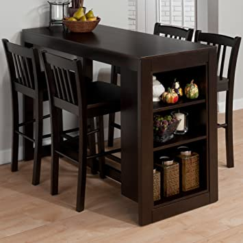 jofran 810 48 maryland merlot counter height table with 3 shelves for storage - Kitchen Counter Tables
