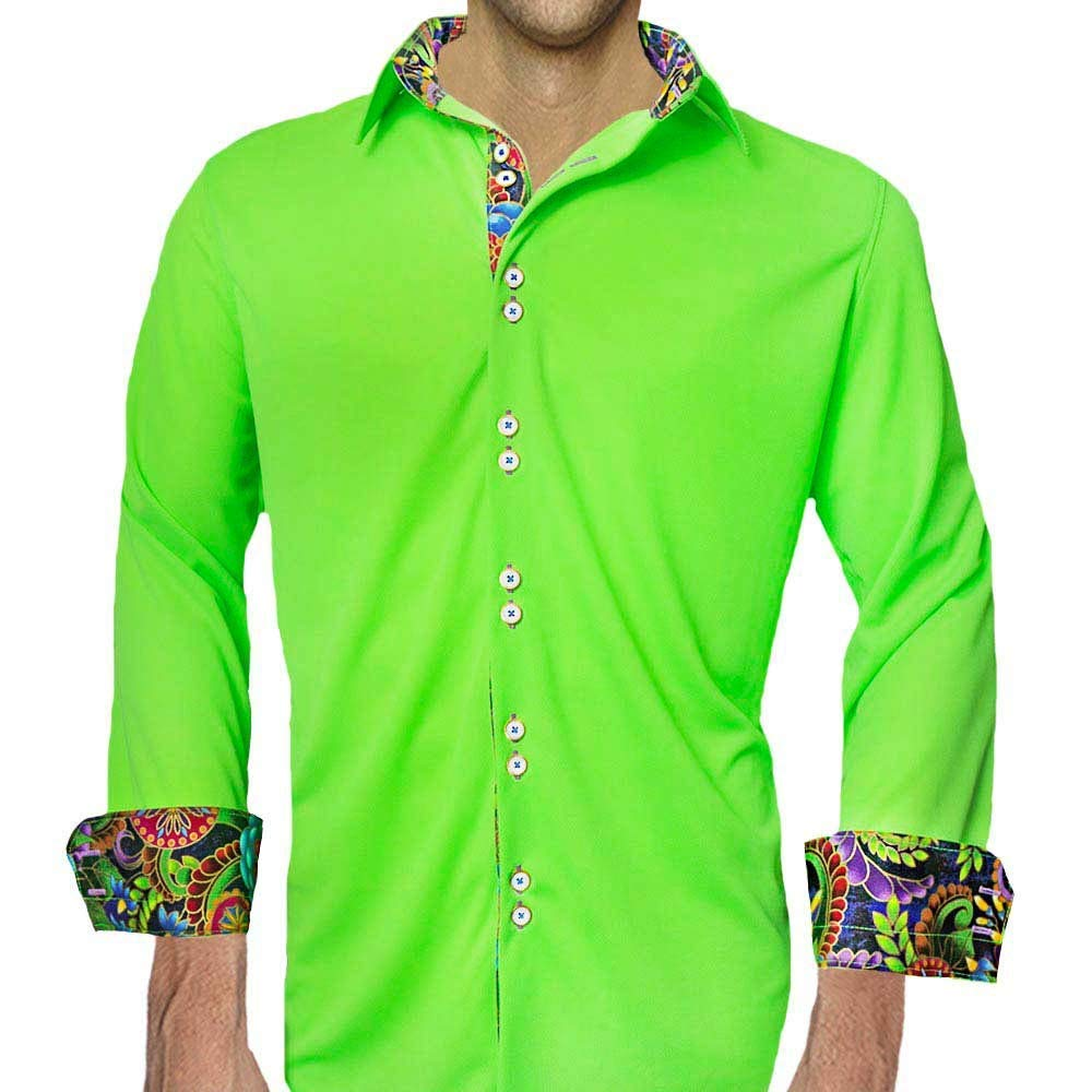 Neon Green Moisture Wicking Dress Shirts - Made in the USA