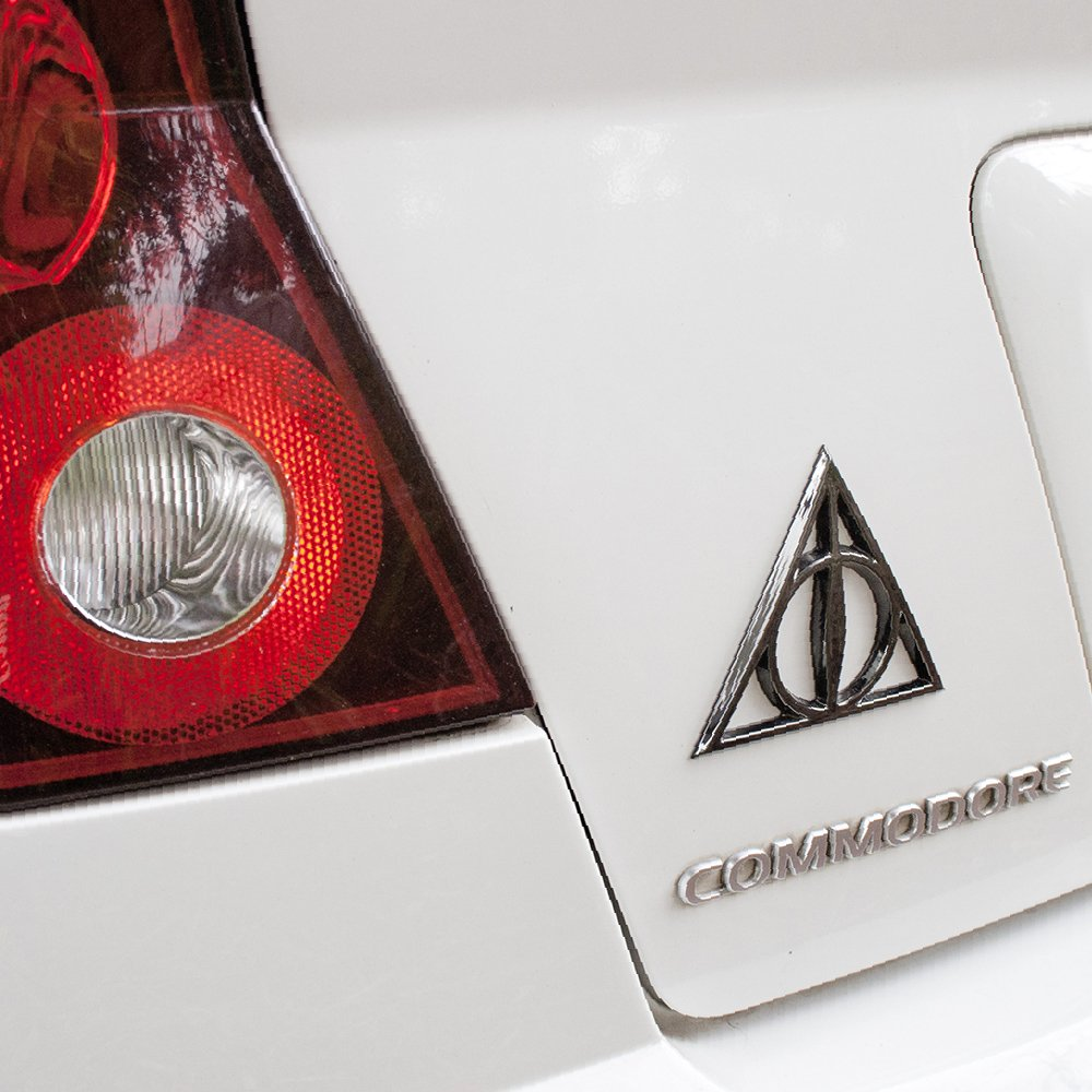 Trucks Motorcycles Almost Anything LNI Australia 9672-114 Harry Potter Automotive Sticker Decal Badge Flexes to Fully Adhere to Cars Fan Emblems Deathly Hallows 3D Car Emblem Black Chrome Laptops Windows
