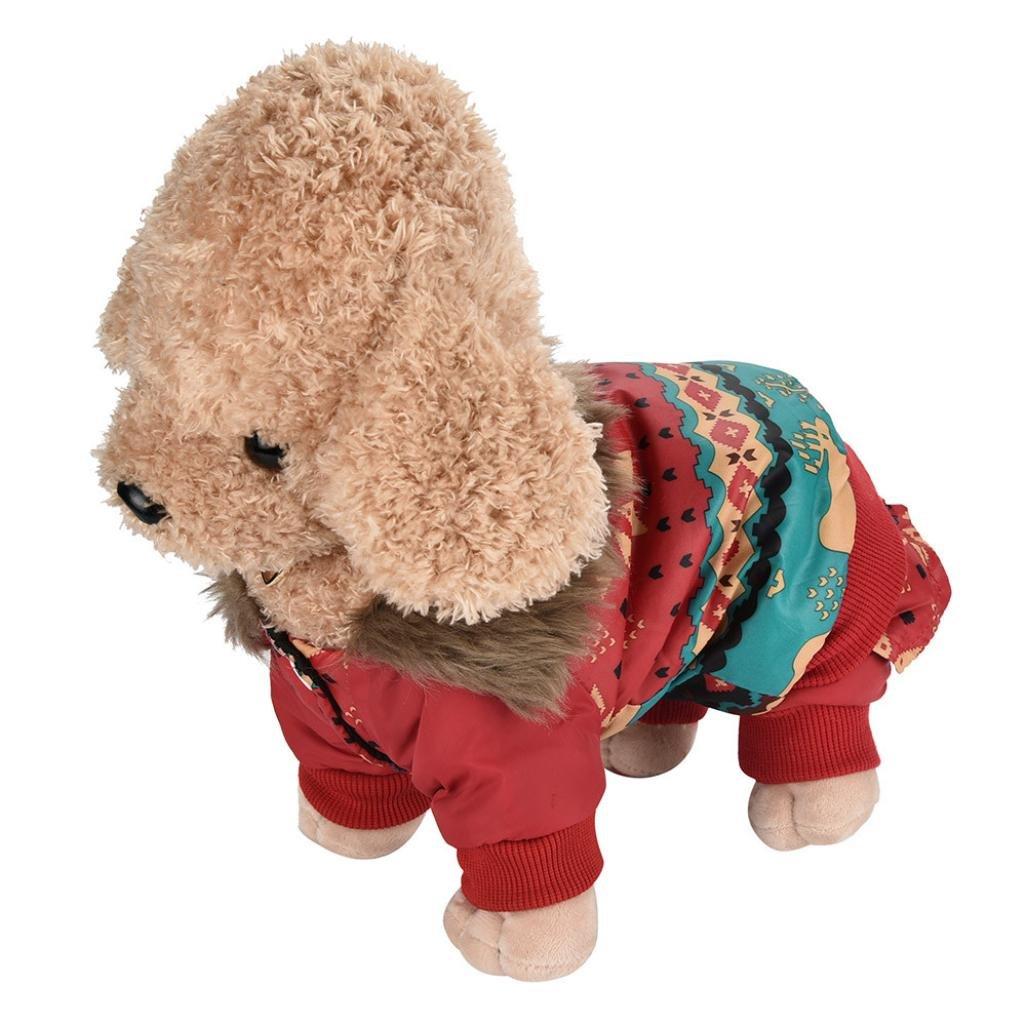 INTERNET Ropa para Perros, Perro Mascota Abrigo de algodón cálido Alce de Navidad Ropa de Invierno para Cachorros Disfraz de Mascota (Rojo, L): Amazon.es: ...